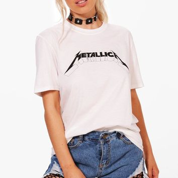 Lily License Metallica Slogan Bright Tee | Boohoo