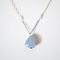 Zachary Pryor Chalcedony Nugget Silver Necklace with Dolphin Charm
