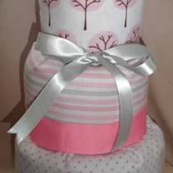 Pink and Gray Modern 3-Tier Diaper Cake