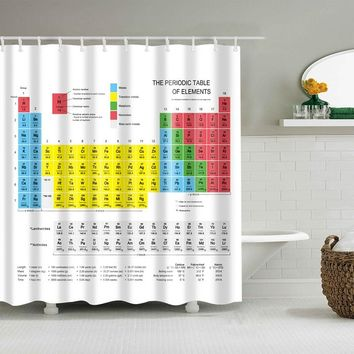Periodic Table of The Elements Shower Curtain Mouldproof Waterproof Polyester Washable Bath Decor Shower Curtain 150*180 180*180