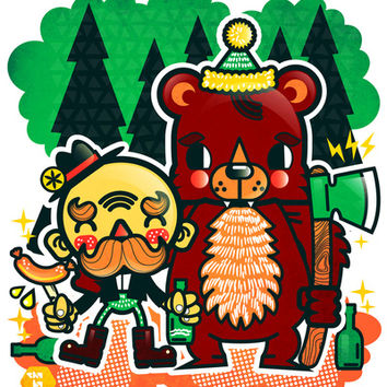 Lumberjack and Friend Stretched Canvas by chobopop