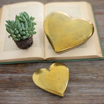 Set Of 2 Cast Aluminum Heart Boxes - Antique Gold