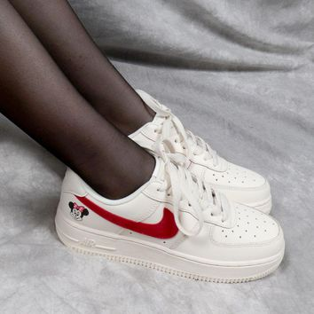 """WMNS Nike Air Force 1 AF1 Low """"Minnie Mouse"""" White - Best Online Sale"""