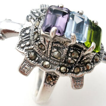 Sterling Silver Articulated Turtle Ring with Gemstones