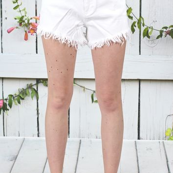 ELAN: Frayed Cutoff Denim Shorts {White}