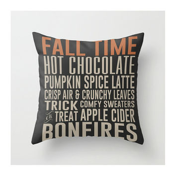 Fall Time Throw Pillow, Orange, Grey, Black, Autumn Pillow Cover, Typography Pillow, Family, Pumpkin Spice, Bonfires, Modern Home Decor