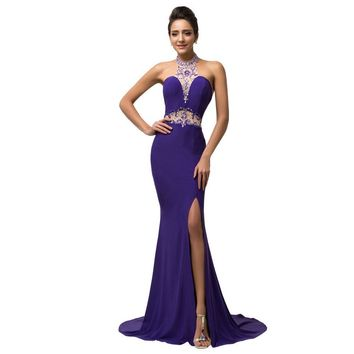 Robes De Soiree Longue Imported Party Dresses Beautiful Purple Evening Gowns Dress Crystal Beaded Halter Bandage Prom Gown C7595