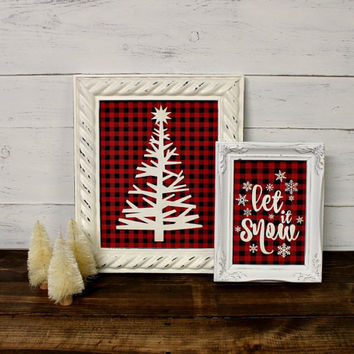 Christmas Tree Print Framed - Lodge Christmas - Buffalo Plaid - Rustic Christmas - Oh Christmas Tree - Red Black Plaid - Antique Ivory Frame