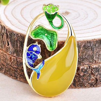 Cloisonne Hollow Lotus Flowers Leaves Yellow Natural Chalcedony 925 Pendant