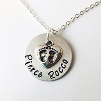 New Mom Necklace, Birthstone Necklace, Baby Feet, Footprints, Foot Prints, New Mom Gift, Baby Shower, Personalized Mom Necklace