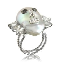 Bernard Delettrez Pearl Skull 18K White Gold Ring w/Diamonds and White Sapphires