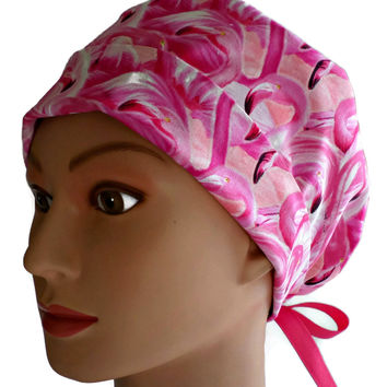 Women's Pixie Surgical Scrub Hat Cap in Flamingos