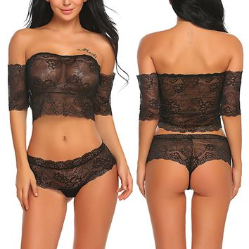 ADOME Women Lingerie Set Off Shoulder Sleepwear Lace Babydoll 2 Piece Outfits