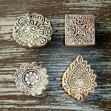 Hand Carved Stamps: Indian Printing Blocks, Wood Block Stamp, Rose Flower Leaf Square Sun, Set of 4, Ceramic, Pottery, Textile Stamps, India