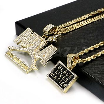 Iced Out NBA NEVER BROKE AGAIN/ BLACK LIVES Pendant W/ Cuban & Rope Chain Set