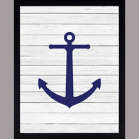 Nautical Navy Anchor on White Wood Print Nursery Decor Baby Print CUSTOMIZE YOUR COLORS 8x10 Prints Nursery Decor Art Baby Room Decor Kids