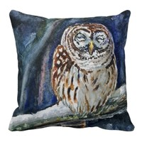 Tawny Owl watercolor painting Pillows