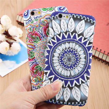Fashion Floral Henna Paisley Mandala Palace Flower Phone Cases For Iphone 6 6s Plus Case Hard PC Matte Frosted Cover Funda Coque
