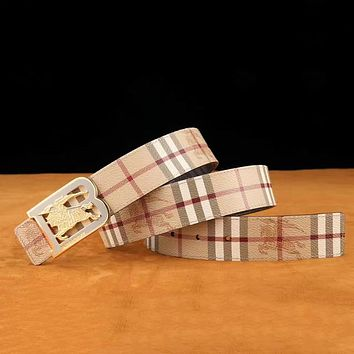 Burberry Men Fashion Smooth Buckle Belt Leather Belt