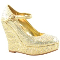 Womens Platform Shoes Rhinestone Studs Wedges Gold