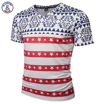 Paisley Flowers T-shirt Men/Women V-neck 3d T-shirt Print USA Flag Roses Floral Skulls Tees Shirt Tr