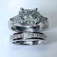 3.29ct Princess Cut Diamond Engagement Wedding Ring Set 18KT WHITE GOLD JEWELFORME BLUE