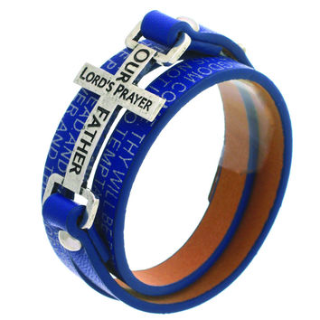 Leather Wrap Layered Bracelet with Cross & Lords Prayer