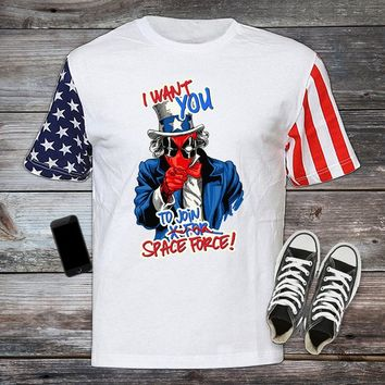 I Want You To Join Space Force, Funny Drinking T-shirt, Independence Day Shirt, 4th of July Uncle Sam Party MERICA USA Flag USA-014