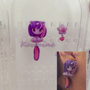 My little pony Twilight Sparkle Pudding Pie Lulu Luck  Honey Belle Rainbow Wishes unicorn earrings