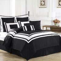 Cozy Beddings Lux Décor 8-Piece Comforter Set, Queen, Black with White Stripe