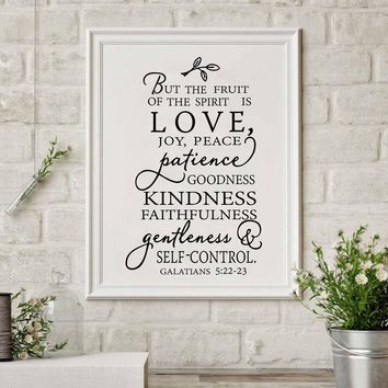 Fruit Of The Spirit Christian Canvas Art Print Poster Wall Picture , Love Joy Peace Wall Art Canvas Painting Home Decor