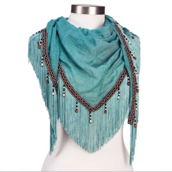 Western Fringe & Bead Scarf - 3 Colors!