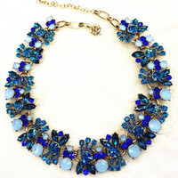 Crystal Gems Flower Statement Necklace | Two Colors