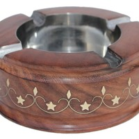 Wood Ashtray - SouvNear Ashtray for Outdoors and Indoors - Large Wooden Ash Tray with 4 Cigarette Holder Slots & Decorative Brass Inlay Work - Unique Smokers Gift