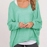 Green Scoop Neck High Low Dipped Hem T-Shirt