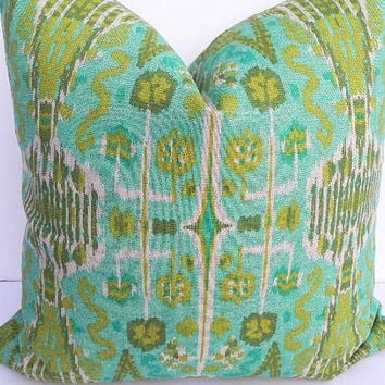Ikat Decorative Pillow Cover 20X20 Home Decor Fabric-Throw Pillow-Accent Pillow-Aqua Green-Tan-Toss Pillow