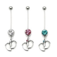 Fashion Charming Maternity Bendy Belly Ring Tiny Feet Crystal Pregnancy Bar Navel Ring Jewelry [7939782023]
