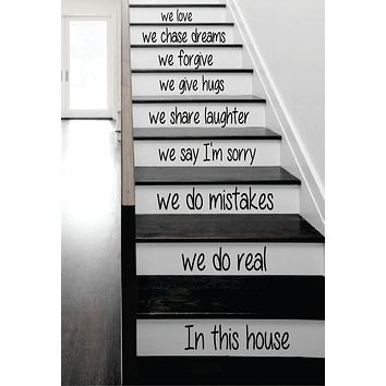 In This House Stairs Decor Decal Sticker Wall Vinyl Art