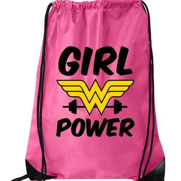 "Drawstring Gym Bag  ""Girl Power""  Funny Workout Squatting Gift"