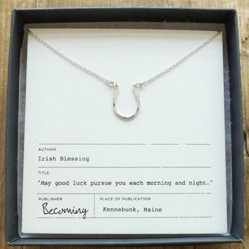 Tiny Horseshoe Necklace Sterling Silver
