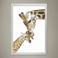 GIRAFFE Family Print, Animal Print Nursery wall decor, Wall Art for Children's room, Baby Room Decor, Watercolor Animal Illustrations