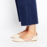 ALDO Colyn Nude Ghillie Tie Up Flat Shoes