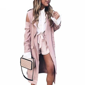 Mara Cold shoulder pink coat