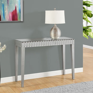 "CONSOLE TABLE - 42""L / BRUSHED SILVER / MIRROR"