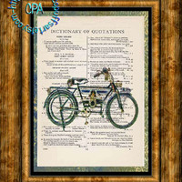 1910 HD Douglas Model Motorcycle - Drawing & Liquid Art - 2 Print Special - Vintage Dictionary Page Art Print Upcycled Page Print
