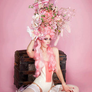 MADE TO ORDER Pink Marie Antoinette butterfly bird cage sail boat headdress headpiece wig fantasy burlesque french baroque roccoco