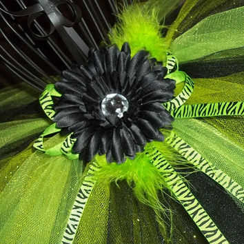 Glittery Lime Green and Black Tutu skirt-Zebra accent-birthday, pageant, holiday, baby/infant/toddler, girl, unique, sweet, photo, lovely,