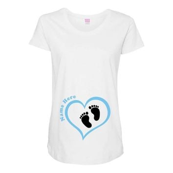 Custom baby boy name maternity design Maternity Scoop Neck T-shirt