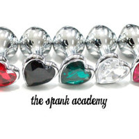 "Butt Plug HEART SHAPED & SPARKLING Small Stainless Steel Jeweled Butt Plug, 9 different colors! 3.5"" inches"