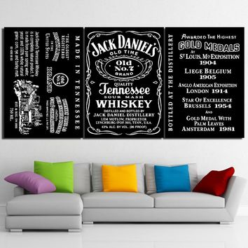 Jack Daniel's Tennessee WHISKEY 3 Panel Wall Art - Printed on canvas